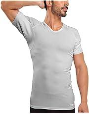 Ejis Sweat Proof Undershirts Men w/Sweat Pads & Real Silver, Micro Modal V Neck