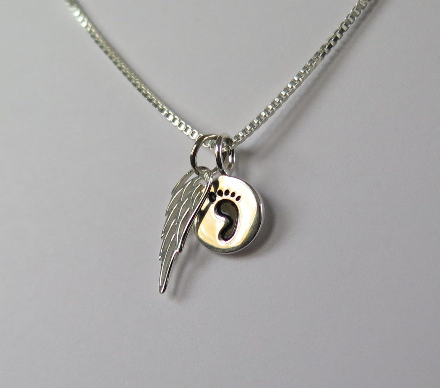 il wings footprints silver remembrance necklace loss jewelry miscarriage angel sterling erml fullxfull baby listing pregnancy