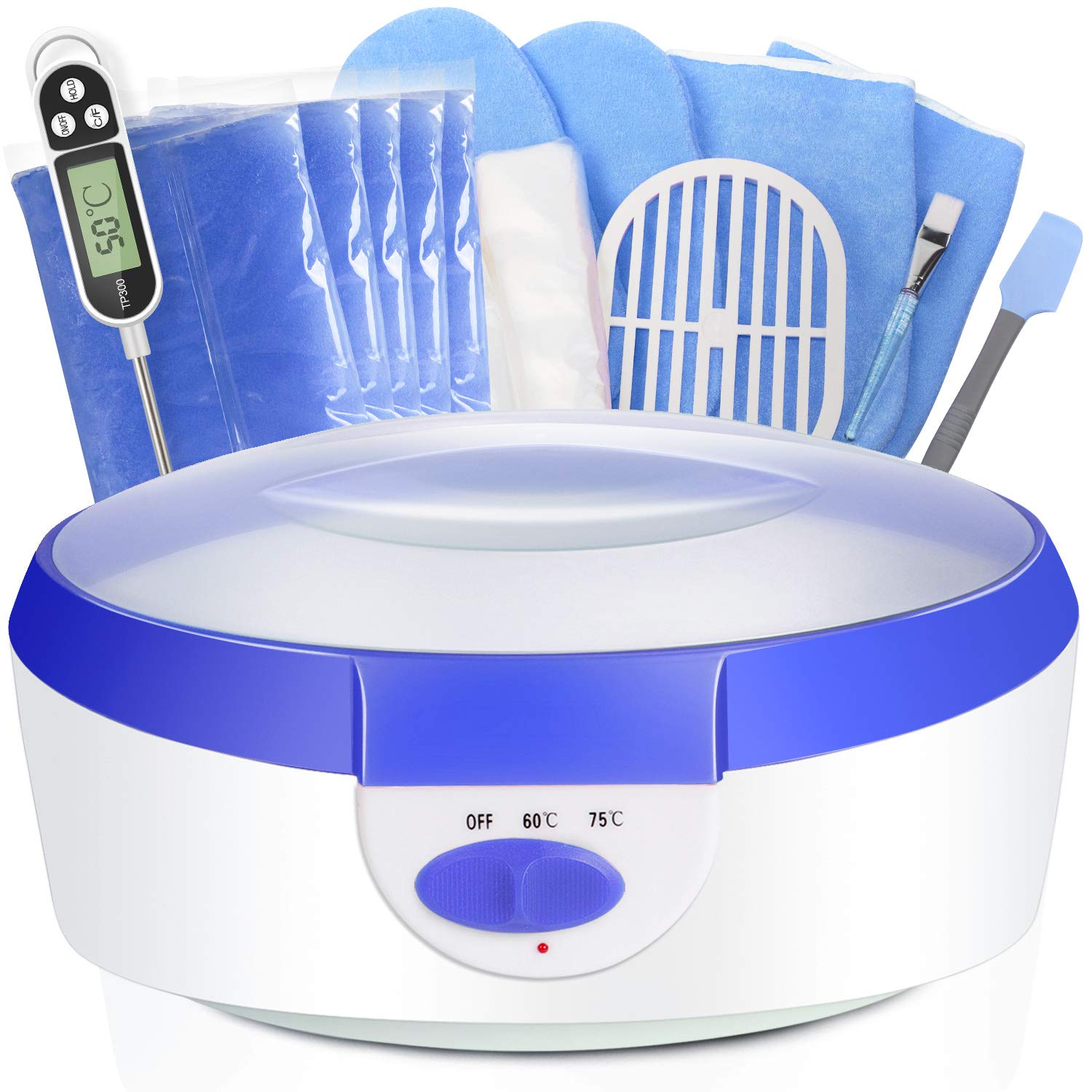 Paraffin Wax for Hands and Feet Ejiubas Paraffin Wax Warmer 2500ml Quick-Heating Paraffin Wax Machine Moisturizing Kit with Paraffin Wax Refill Thermal Mitts Gloves Silicone Brush Paraffin Bath Blue by Ejiubas