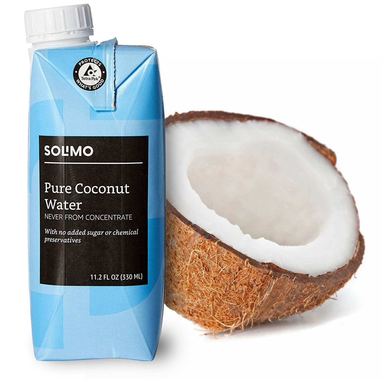 Amazon Brand - Solimo Coconut Water 11.2 Fl Oz (Pack of 24)
