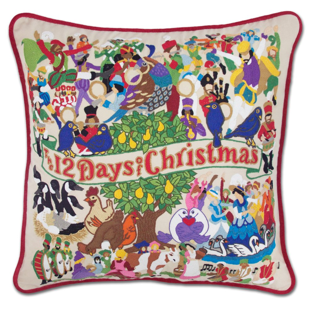 12 DAYS OF CHRISTMAS HAND-EMBROIDERED PILLOW - CATSTUDIO by Catstudio