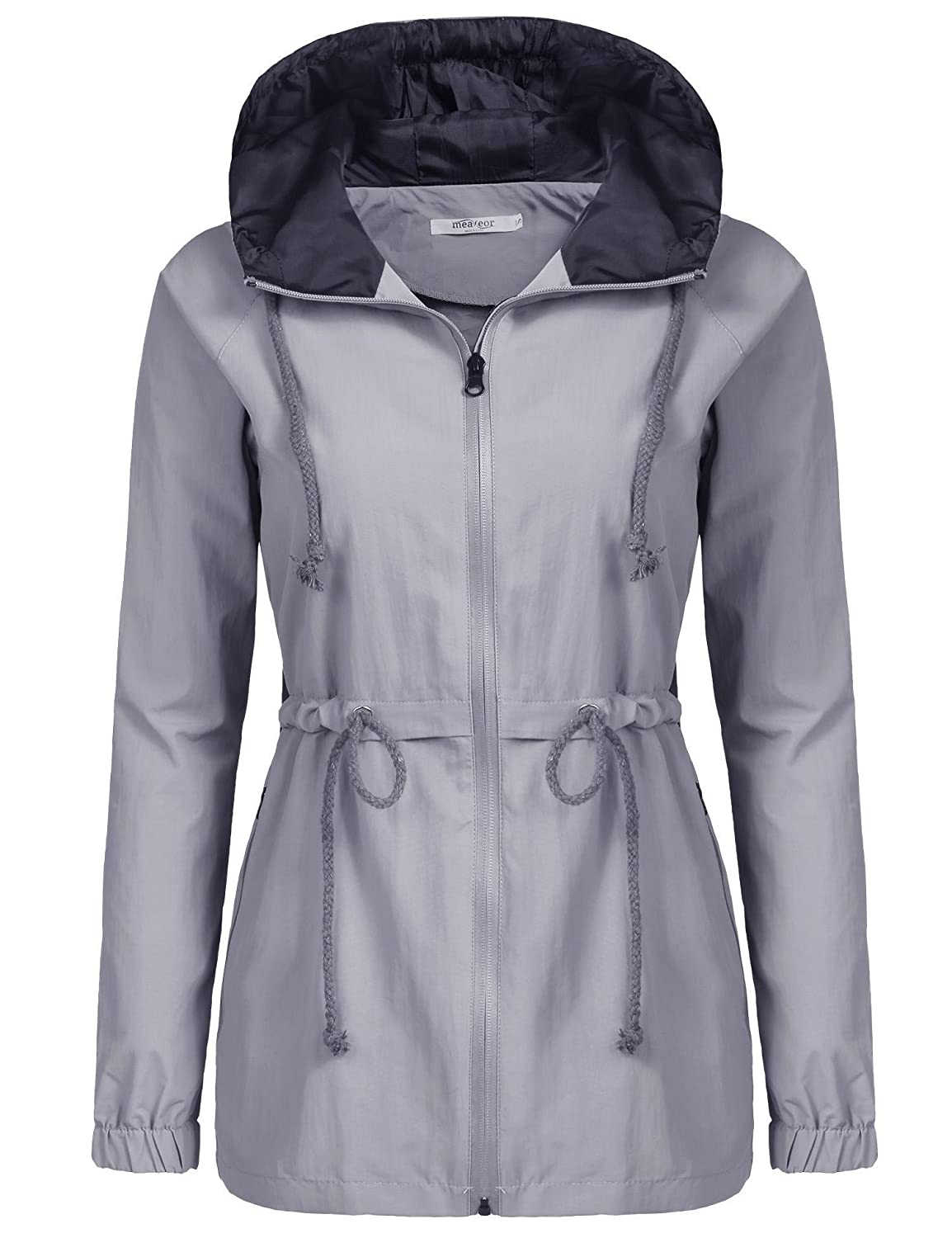 Meaneor impermeabile cappuccio donna manica lunga casual Hooded Jacket