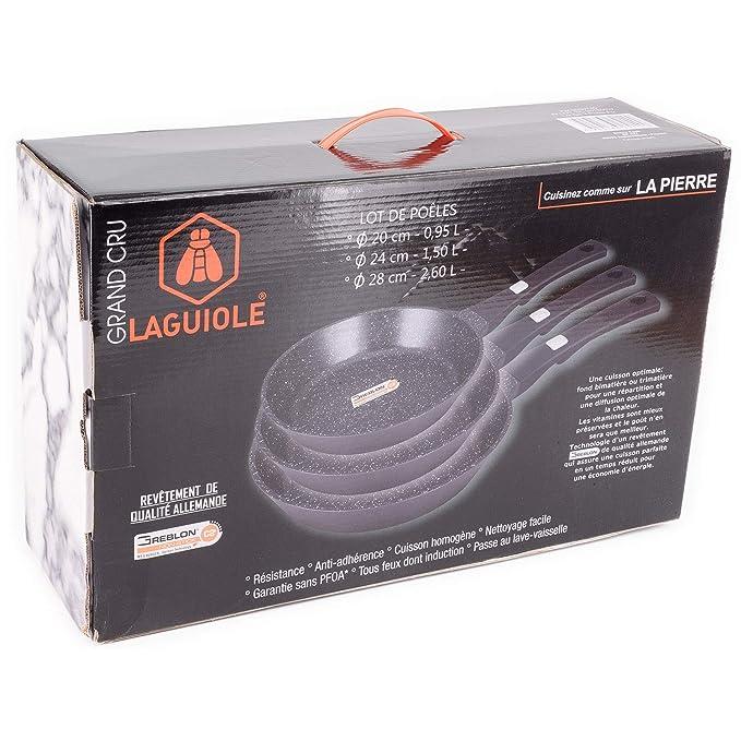 - Juego de 3 sartenes negras Grand Cru mango fijo 20 - 24 - 28 cm - Laguiole calidad Pro: Amazon.es: Hogar