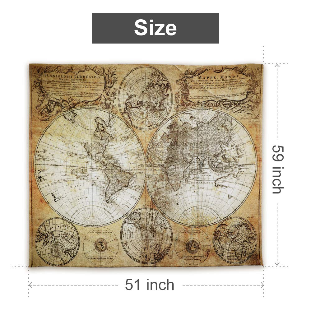 Flymall World Map Tapestry, Tapestry Wall Hanging for Wall Art Home Decor Bedspread Beach Towels Blanket Picnic Mat(59\