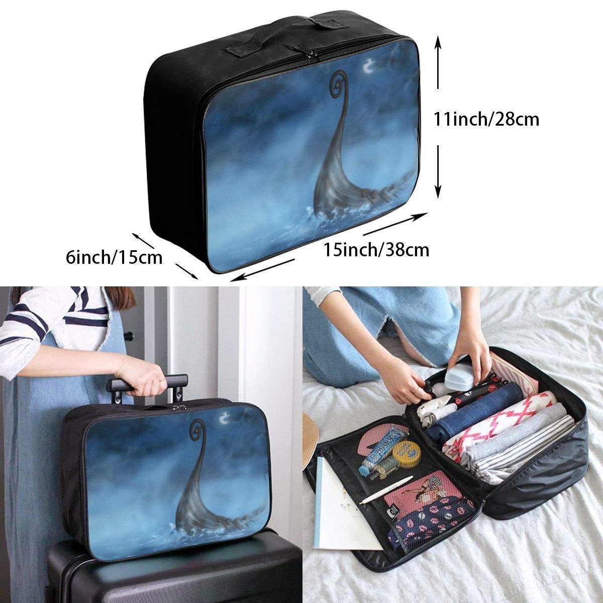 Travel Luggage Duffle Bag Lightweight Portable Handbag Fantasy Waves Night Moon Pattern Large Capacity Waterproof Foldable Storage Tote