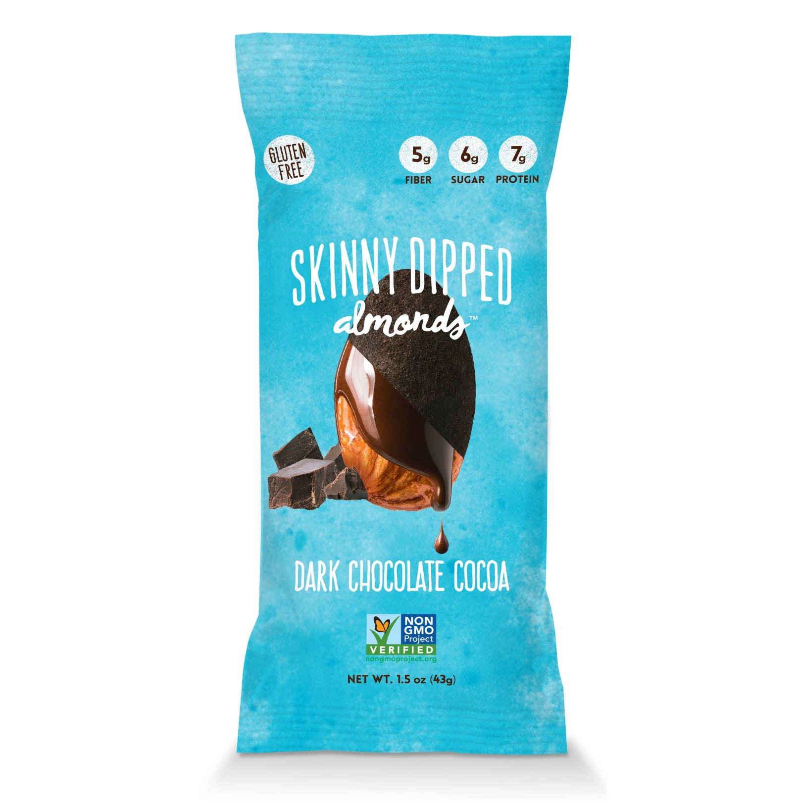 Skinny Dipped Almonds, Dark Chocolate Almonds Cocoa, 1.5oz, 7g plant based protein, Non GMO project verified, gluten free, 9g sugar, 230 calories (pack of 10)