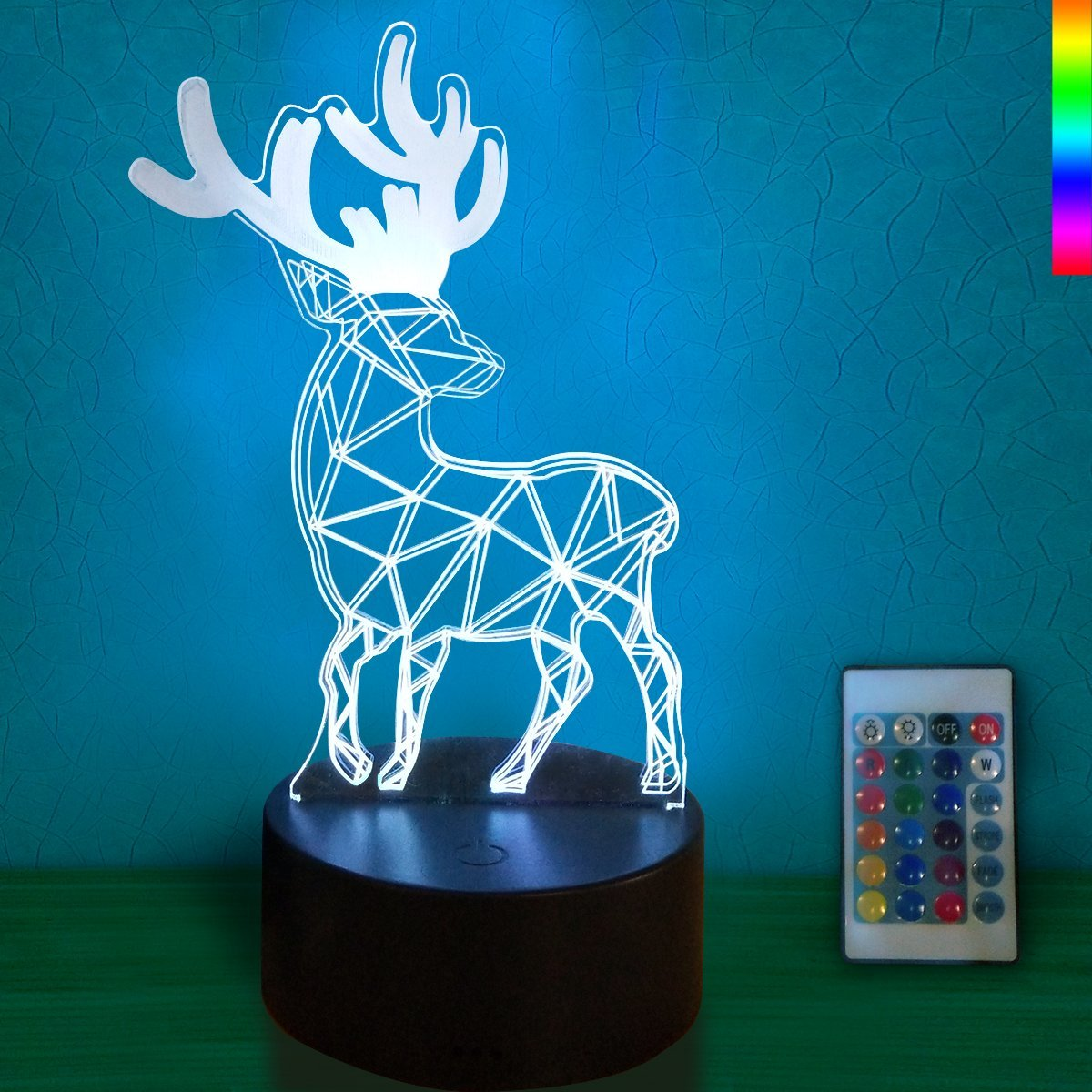 Night Lights for Kids 3D with Remote Controller LED Touch 7 Colors Changing Deer Desk Lamp