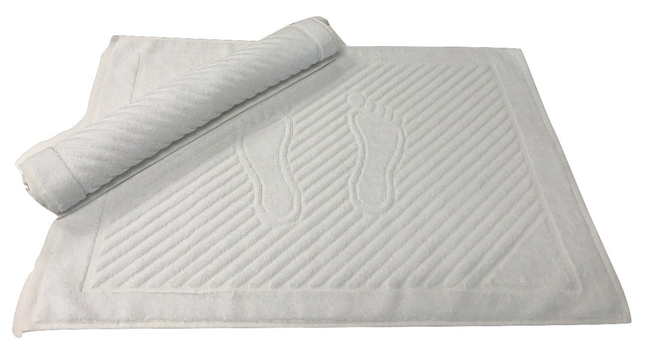 Goza Towels Cotton Washable Bath Mat , 20 by 28 inch (2 Pack) (White)