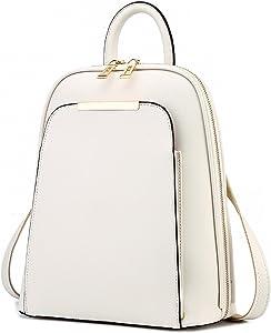 Backpack Women Black Back Pack School Bags Teenage Girls Gold Pu Beige