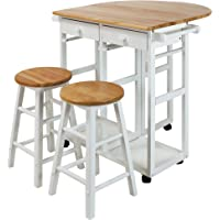 Casual Home 355-21 Drop Leaf Breakfast Cart with 2 Stools