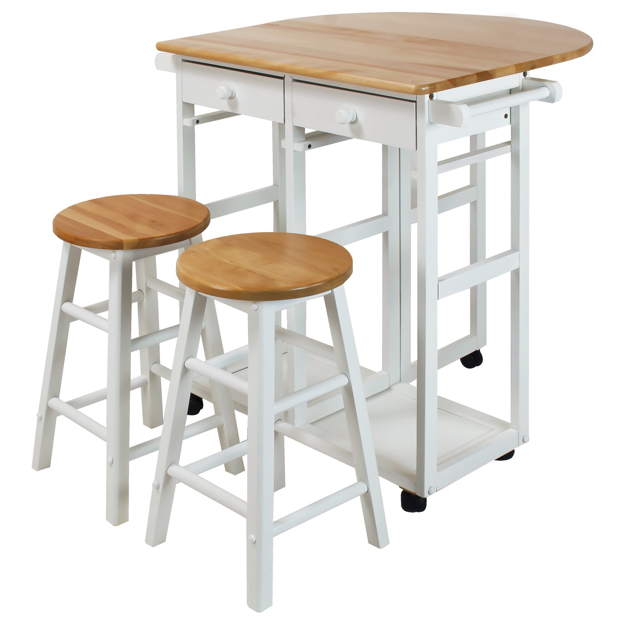 Casual Home 355-21 Drop Leaf Breakfast Cart with 2 Stools-White by Casual Home