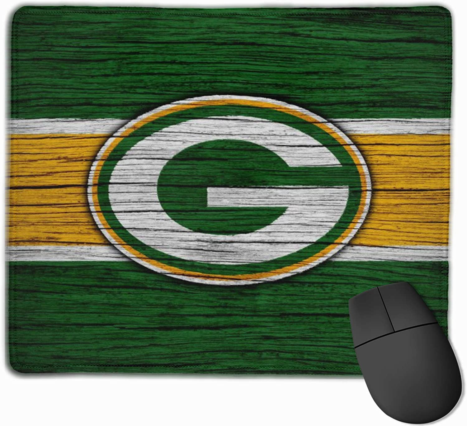 Pierset Sports Gre-En Bay Pack-Ers Mouse Pad with Stitched Edges, Non-Slip Rubber Base Gaming Mouse Mat for Computers Laptop Office Home Desk Pc Accessories 12x10 Inch