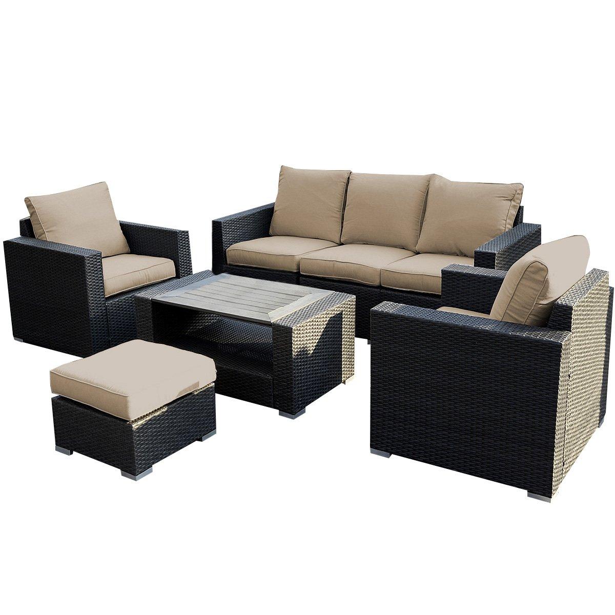 Amazon.com : Giantex 7pc Outdoor Patio Patio Sectional Furniture Pe Wicker  Rattan Sofa Set Deck Couch : Garden U0026 Outdoor