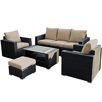Giantex 7pc Outdoor Patio Patio Sectional Furniture Pe Wicker Rattan Sofa  Set Deck Couch Part 39