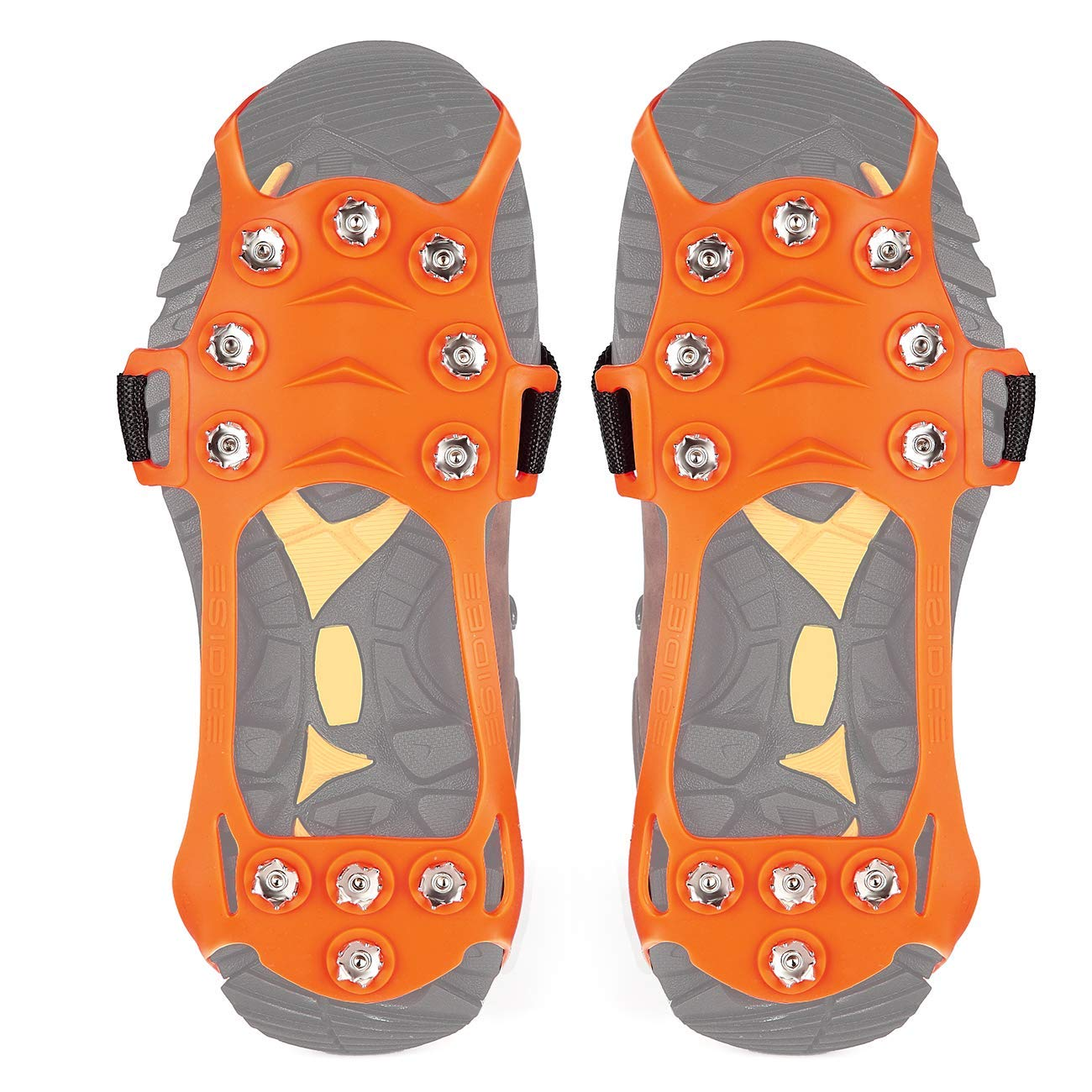Wirezoll Traction Cleats, Upgraded Version of 10 Teeth Stainless Steel Spikes Durable Silicone, Portable Walk Spikes Cramponsr for Walking, Jogging, Hiking, Mountaineering Ice Snow Grips