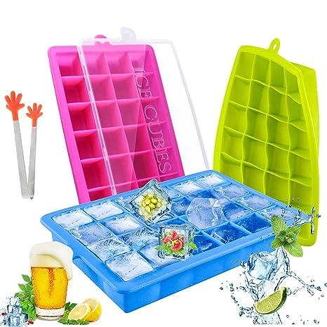 TedGem Silikon Eiswürfelform, 3 Stück Eiswürfel Silikonformen, Eiswürfelbereiter Ice Tray Ice Cube 24 Fach Eiswürfel Box Eisw