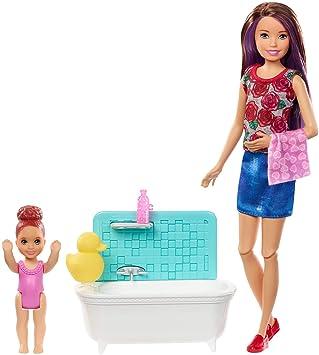 Amazon.es: Barbie Canguro - Muñeca con bebé y accesorios de baño (Mattel FXH05): Juguetes y juegos