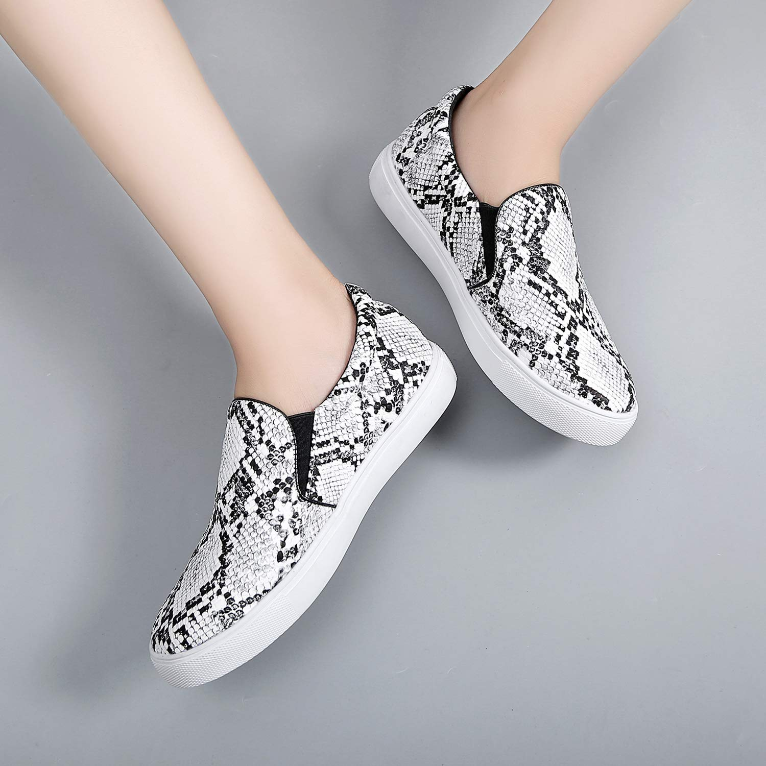 Womens Slip On Sneakers Snake Shoes Casual Comfortable Flats Memory Foam Insoles Faux Snake Skin Anti-Slip for Walk Stand Work 6-10.5