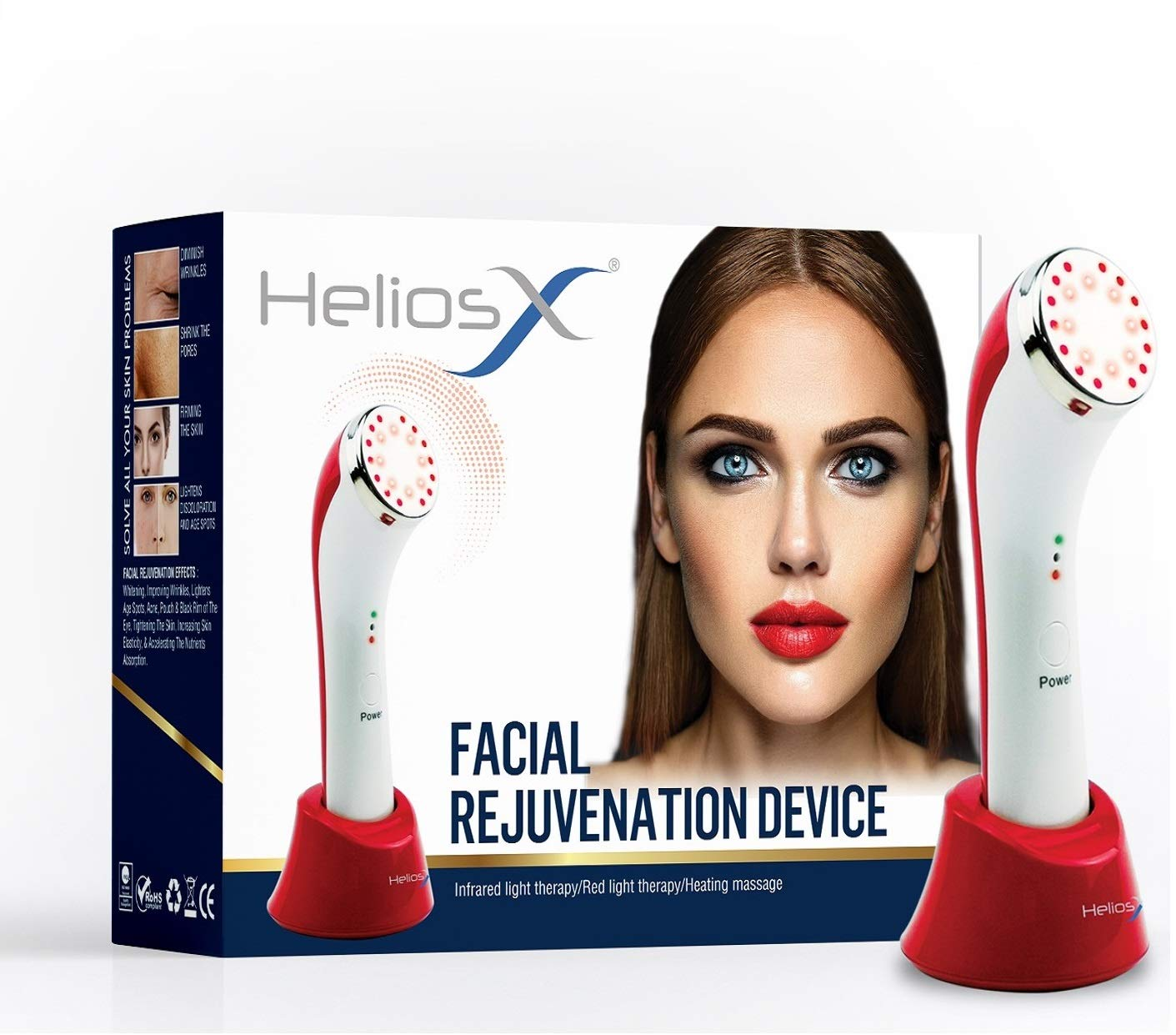 Helios X Facial Rejuvenation LED Infrared Light & Heat Therapy 3-In-1 Device for wrinkles, skin tightening, and collagen production