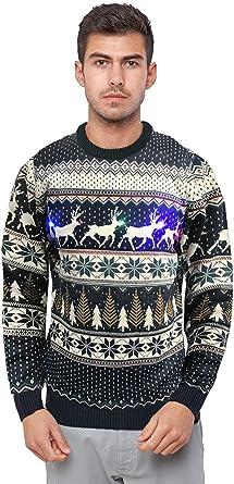 Seasons Greetings Mens Reindeer Fairisle With Lights Festive Christmas Jumper