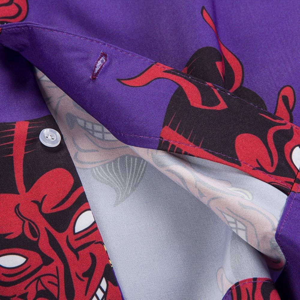 nobrand Devil Stampa Completa Collare Turn-Down Camicie Uomo Estate High Street Uomo Camicie Rosa//Viola