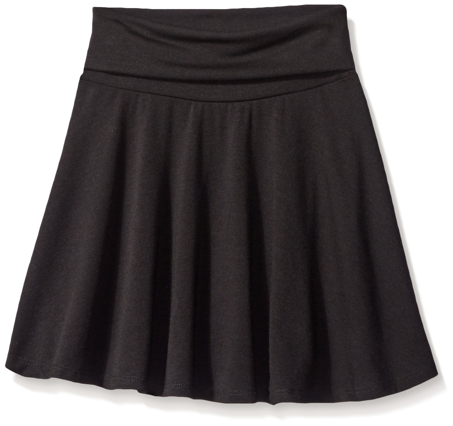 Amy Byer Big Girls' Size 7-16 Knit Skater Skirt with Foldover Waist, Black, Large
