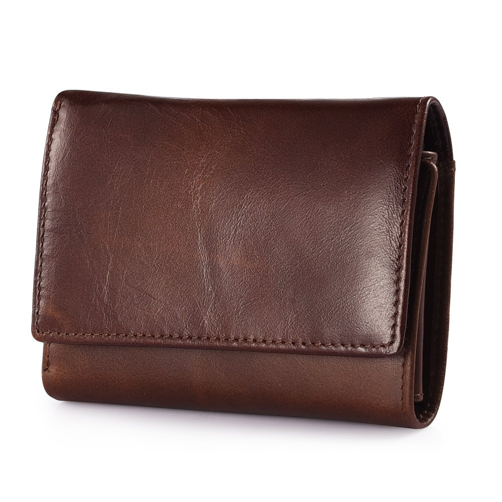 RFID Blocking Wallet Secure Bifold Card Holder Protector Leather Purse (Brown 2)