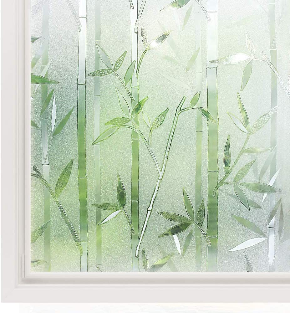 rabbitgoo Bamboo Window Film for Glass Window Decorative Films Frosted Privacy Window Covering Film Non-adhesive Removable Window Decal No Glue Stained Glass Sticker for Home Office 17.7 x 78.7 inches