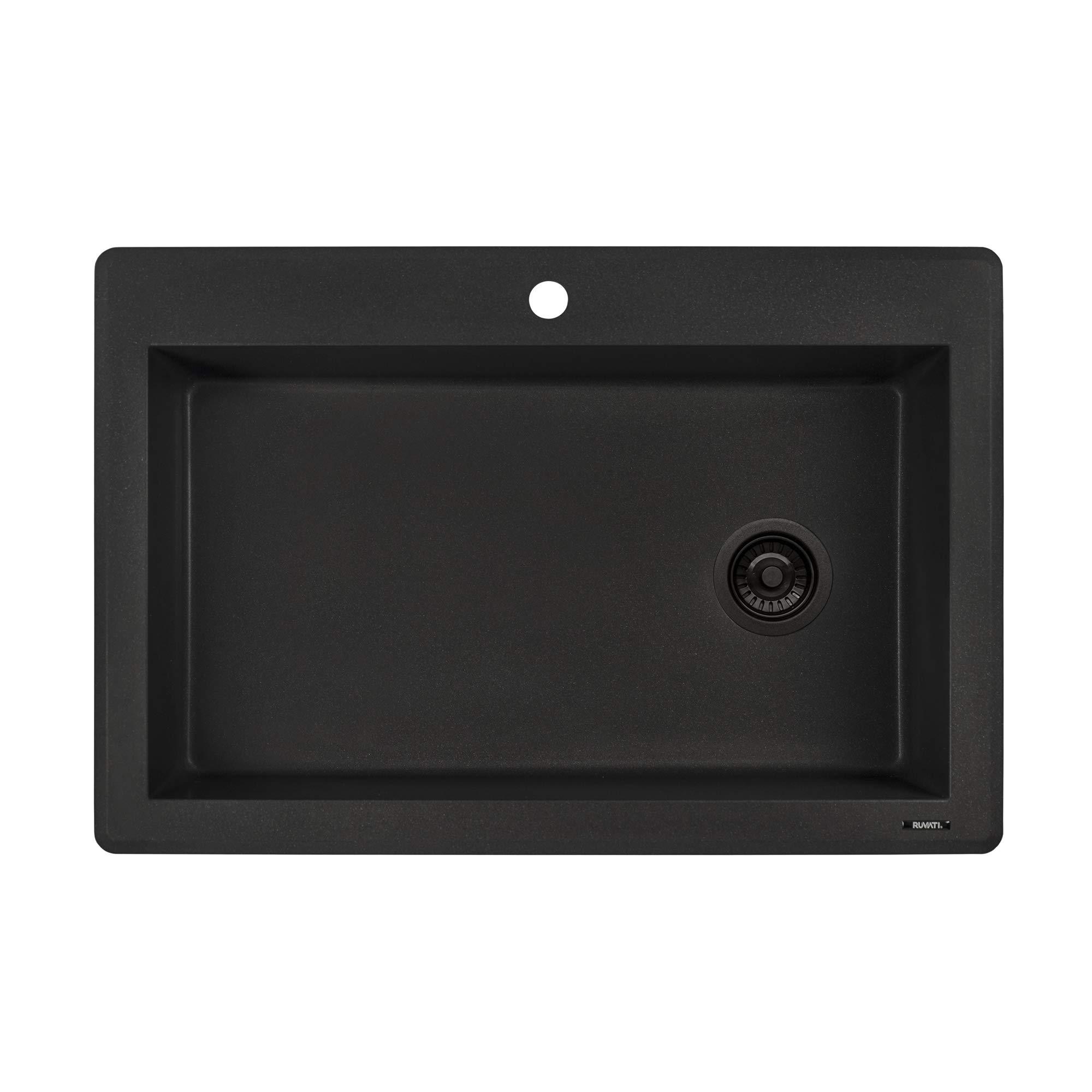 Ruvati 33 x 22 inch Dual-Mount Granite Composite Single Bowl Kitchen Sink - Black Galaxy - RVG1033GX by Ruvati