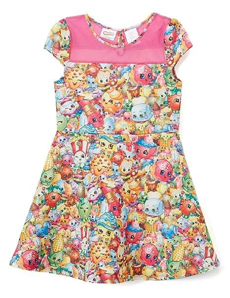 "76c155826d7 Girls Shopkins ""PINK MULTI PRINT"" Scuba Skater Size 4-12 Skater  Dress"