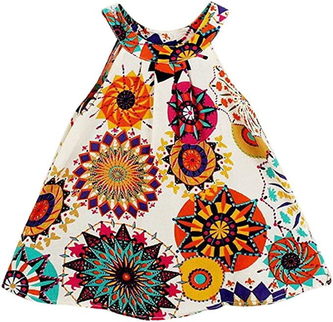 60s 70s Kids Costumes & Clothing Girls & Boys Hipea Baby Girl Clothes Bohemian Sleeveless Flower Princess Floral Formal Kids Summer Dress Skirt $13.99 AT vintagedancer.com