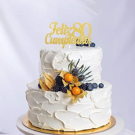 Feliz Cumpleaños 80th Birthday Cake Topper - Gold Glitter ...