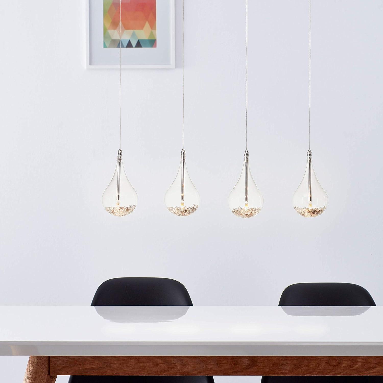 Lightbox - Lámpara colgante LED con 4 focos, con perlas de cristal, altura regulable, casquillo G4 con 5 W, cristal y metal cromado transparente