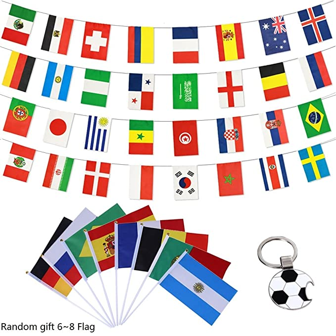Profer World Cup 2018 - Juego de bufandas de fútbol, banderas de mano, bandera nacional grande, pegatinas de tatuaje, pulseras de silicona, decoración ...