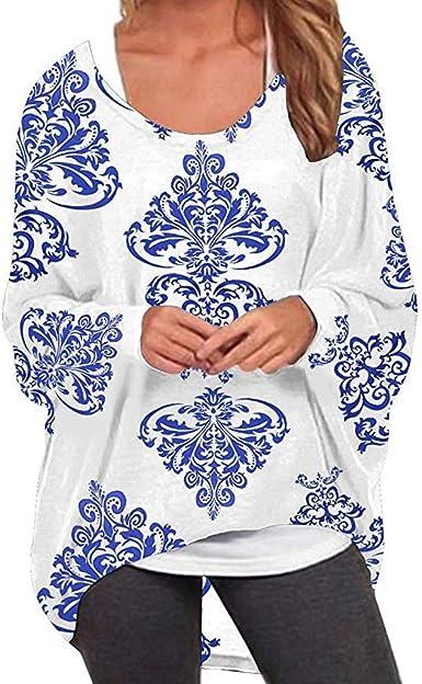 Rawdah_Mujer Jersey Cuello de Barco Mujer Elegant Chic Camiseta Asimétrica Larga T Camiseta Geometría Impresión Camisa Irregular Sudadera Monosférica Sudadera Otoño Invierno Blusa Túnica Camiseta Top blanco M: Amazon.es: Ropa y accesorios