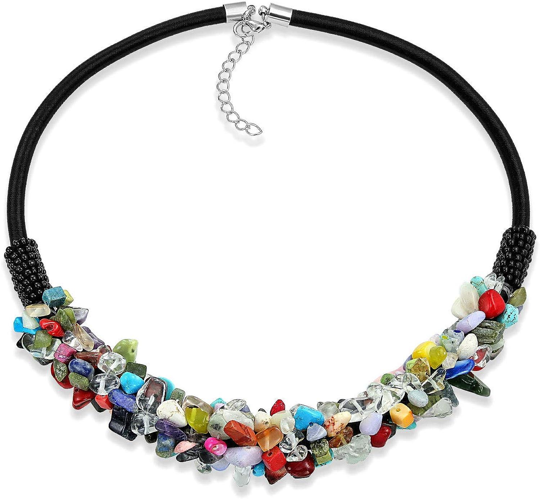 Bling Jewelry Declaración Cluster Multi Color Chips Piedras Preciosa Collar Collar Mujer Adolescente Imitación Cuero Cordón Ajustable