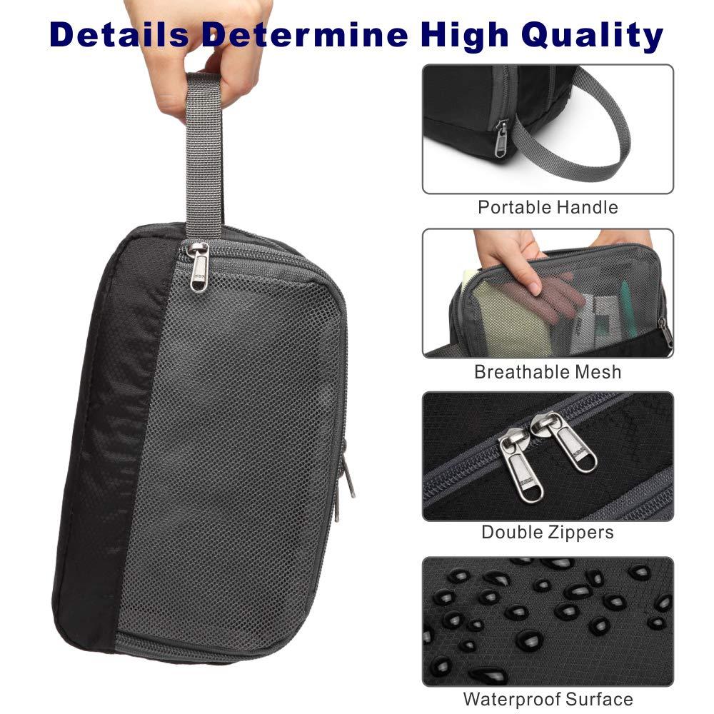 Packism Lightweight Dopp Kit for Men Shaving Bag Nylon Women Travel Toiletry Makeup Organizer Bathroom Bag Toiletry Bag for Men Black