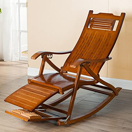 Superbe ZHIRONG Chaise Lounges,Rocking Chair Patio Lounger Chair Old Man Bamboo  Folding Chairs Summer Nap