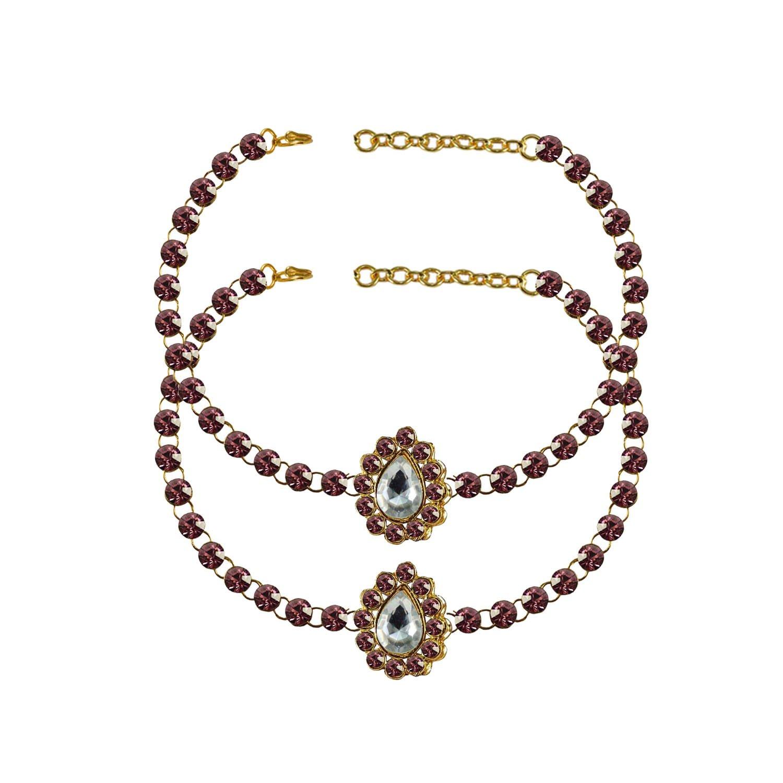 Jamani Stone Stud-Gold Platted Brass Anklet elegant charm Bracelet Payal