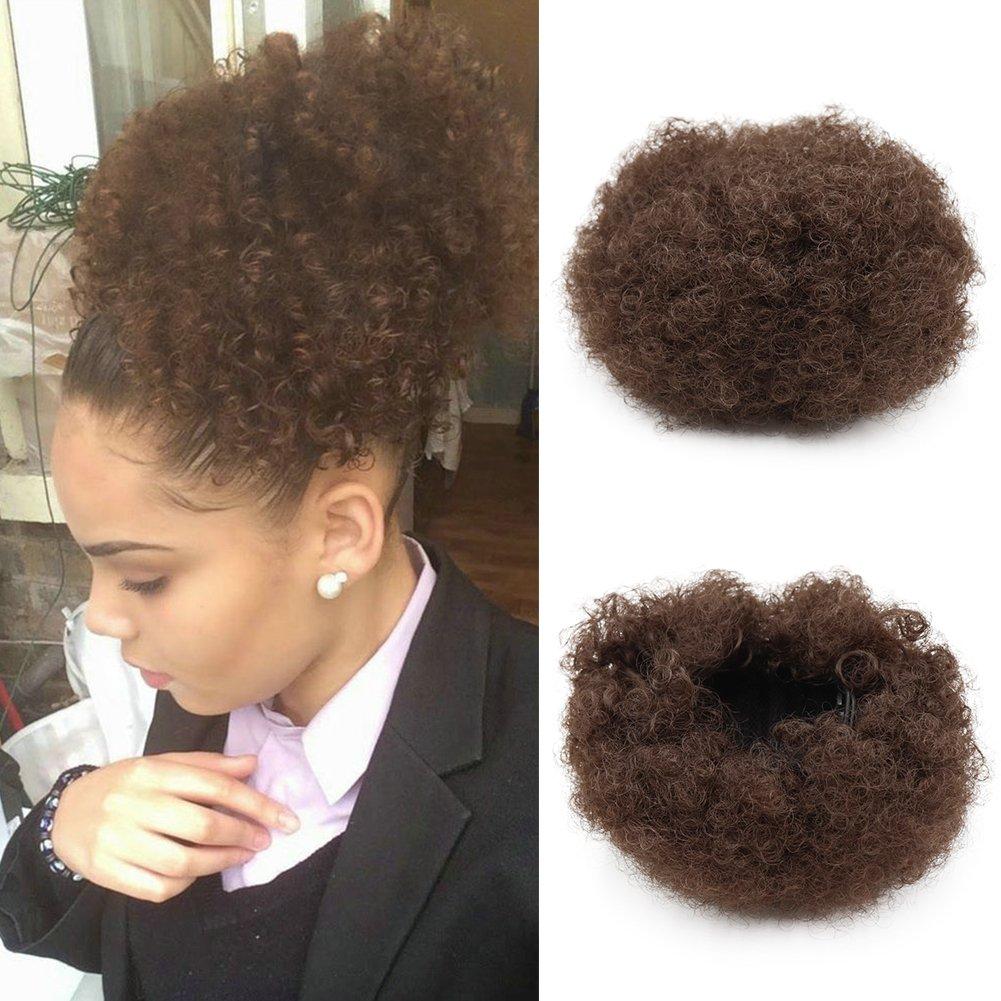 synthétique bouclés Wave Pince à cheveux en queue de cheval court Afro crépus frisés Wrap synthétique Cordon de serrage Puff Queue de cheval Extensions de cheveux Perruque pour African American(#2) JZEE Beauty