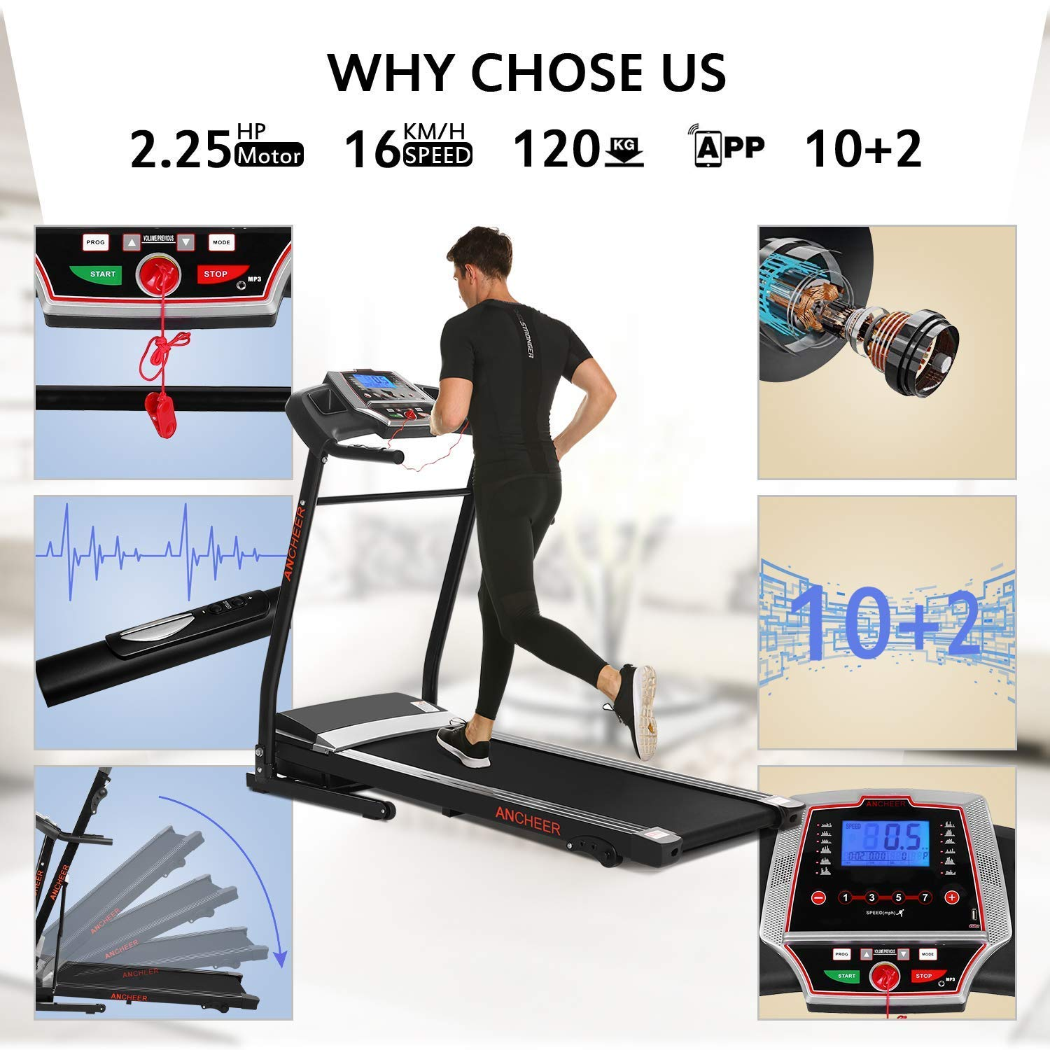 Miageek Fitness Folding Electric Jogging Treadmills with Smartphone APP Control, Walking Running Exercise Machine Incline Trainer Equipment Easy Assembly by Miageek (Image #7)