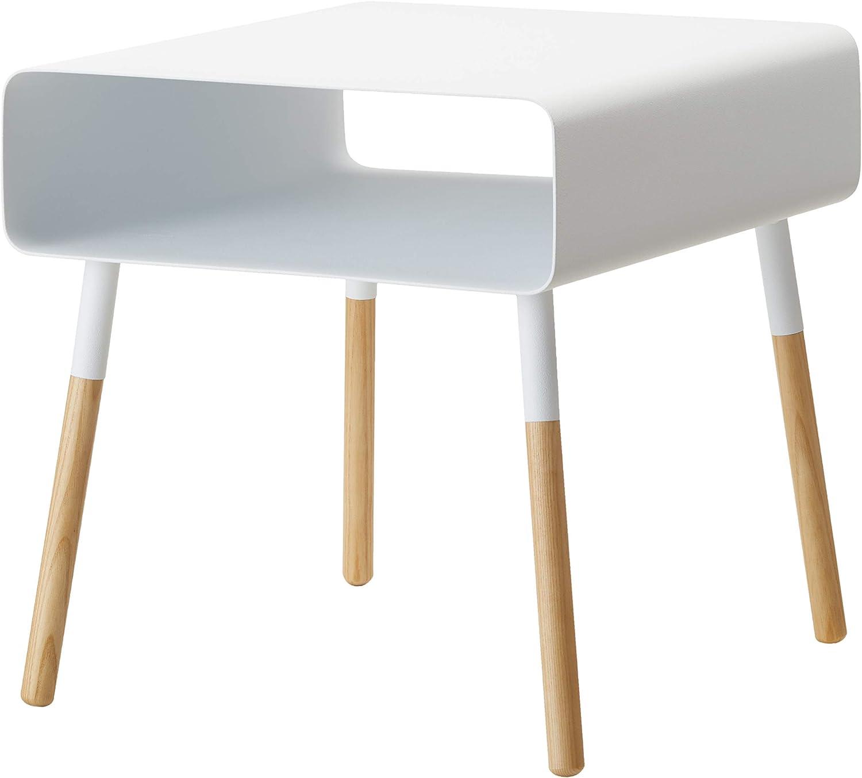 YAMAZAKI home Plain Side Table with Storage Shelf White
