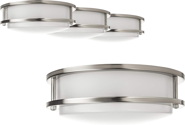 Hyperikon LED Ceiling Light 14 Inch Dimmable, Model W 100 Watt (25W), Flush Mounth Indoor Lighting, 4000K Daylight, 4 Pack