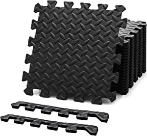 Felnats Fitness Puzzle Workout Mat, Protective Interlocking Gym Floor Tiles for Home or Exercise Equipment, Cover 22 SqFt, 12.5 x 12.5 x 0.4 inch, Black