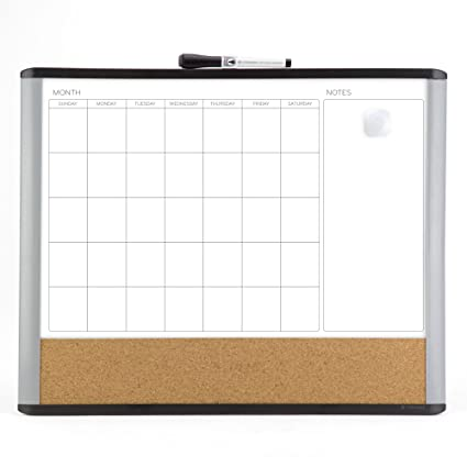 U brands MOD Magnetic Dry Erase 3-in-1 Calendar Board, 20 x 16 Inches,  Black and Gray Frame (388U00-01)