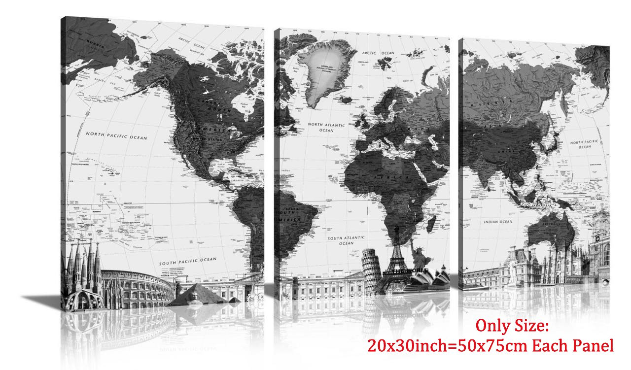 HLJ Arts 3 Panels World Map Black And White Picture Canvas Print Wall Art Painting For Living Room Office