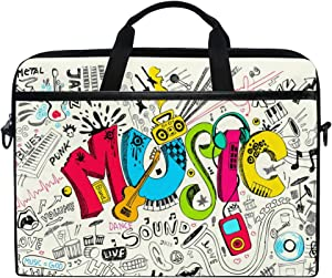 MRMIAN Vintage Music Graffiti Pattern W/Guitar Laptop Case Bag Sleeve Portable/Crossbody Messenger Briefcase Convertible w/Strap Pocket for MacBook Air/Pro Surface Dell ASUS hp Lenovo 15-15.4 inch