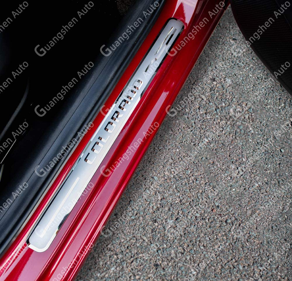 Weigesi Car Stainless Steel Door Sill Scuff Plates for Chevrolet Colorado 2019-2020