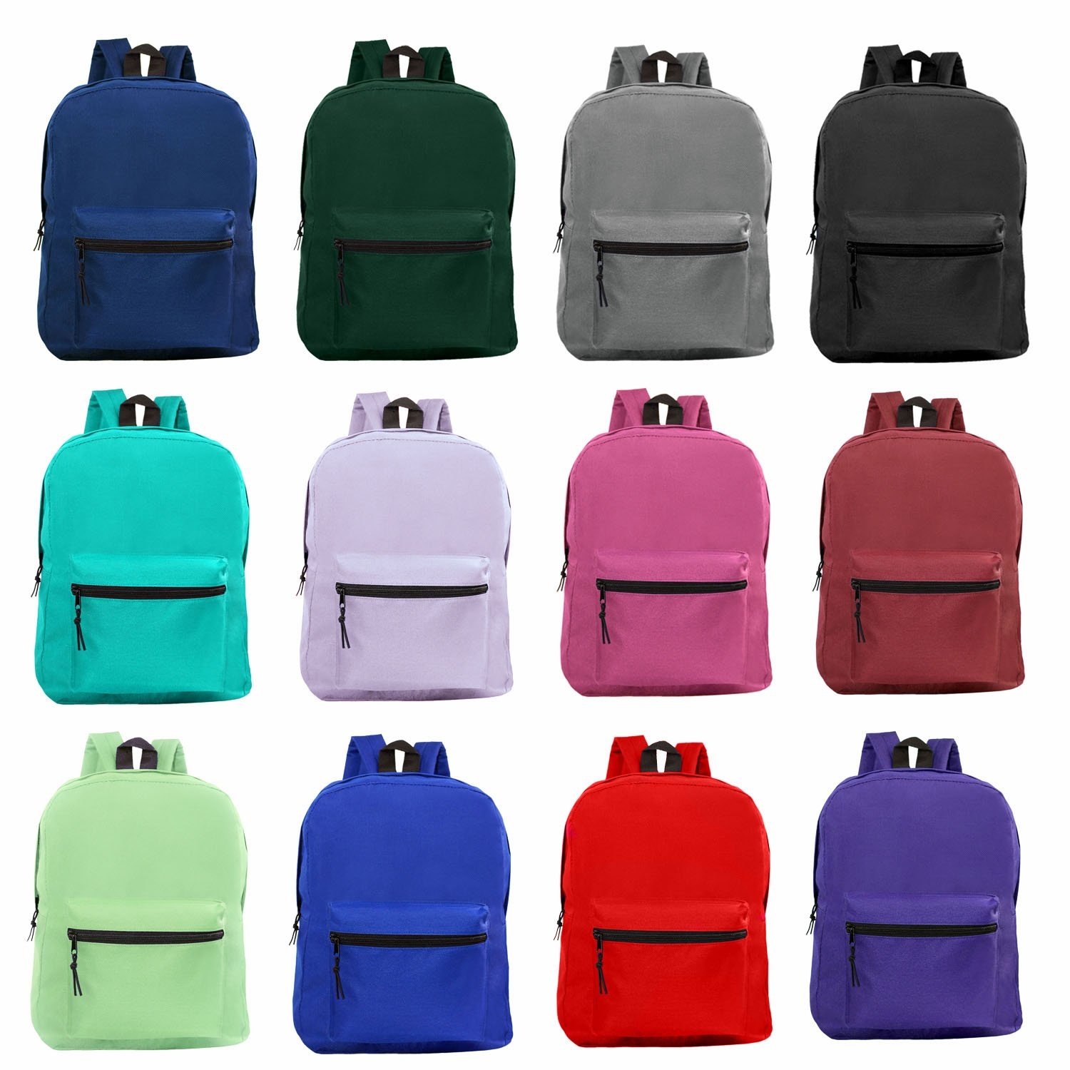 Wholesale 15'' Backpacks for Kids - Bulk Case of 24 Bookbags - 12 Assorted Colors
