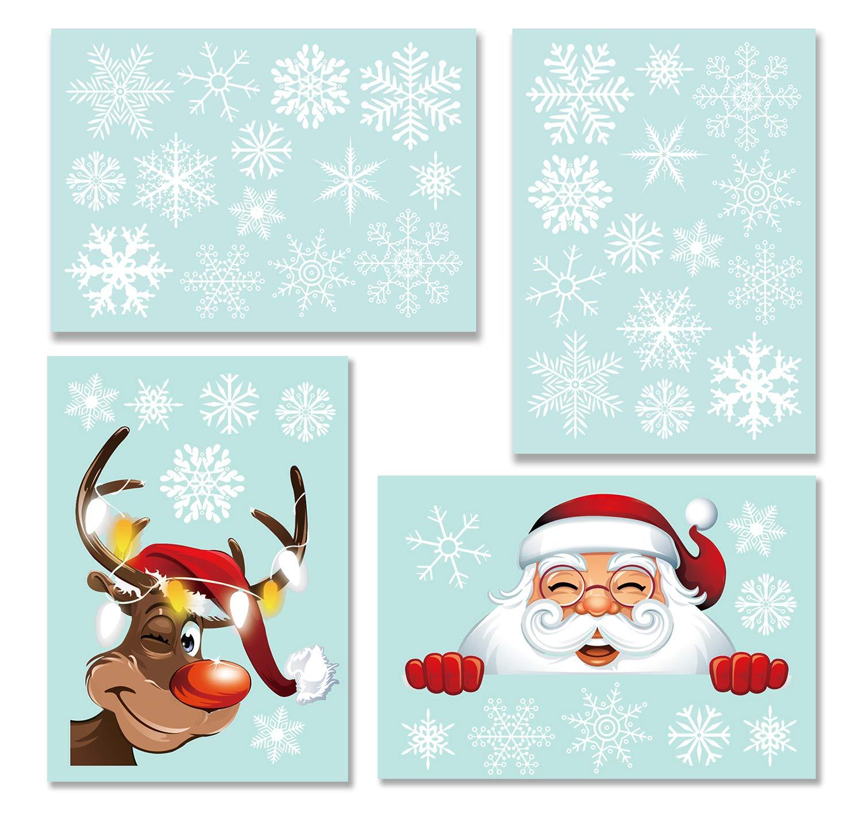 Tuopuda Sticker Snowflakes Christmas Snowman Elk Window Decoration DIY Xmas Window Decals Christmas Decorations Reusable Static Adhesive Sticker White